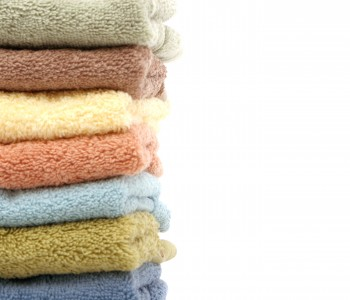 stack of colorful cotton towels